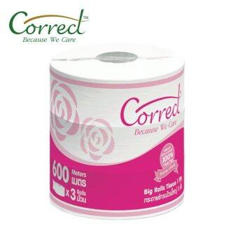 กระดาษชำระม้วนใหญ่ ตราคอลเลกCorrectความหนา1ชั้น ยาว600เมตร/ม้วน ผลิตจากเยื่อกระดาษบริสุทธิ์100% x 3ม้วน