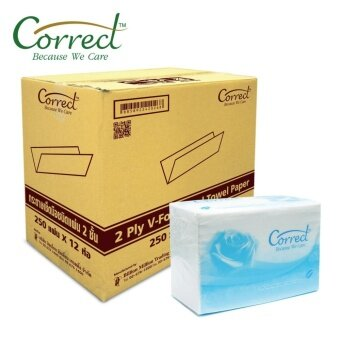 กระดาษทิชชู่เช็ดมือชนิดแผ่น ตราคอลเลกCorrectความหนา2ชั้น ผลิตจากเยื่อกระดาษบริสุทธิ์100% 250แผ่น/ห่อ(12ห่อ/ลัง)