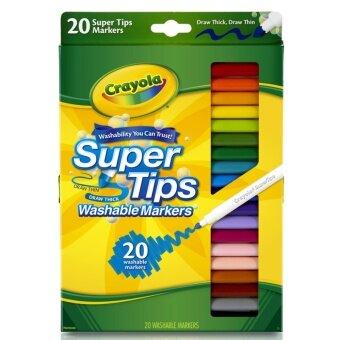 Crayola สีเมจิกล้างออกได้20สีหัวพิเศษเส้นบางหนาในแท่งเดียว