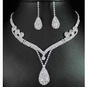 ราคา Crystal Rhinestone Tear Drop Earrings Necklace Wedding Prom Bridal Jewelry Set