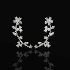 ซื้อ Crystal Stud Earrings Lady Exquisite Gold Plated Zircon Leaf Flower Earrings For Women G*rl Jacket Clips Jewelry Silver Color