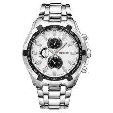 โปรโมชั่น Curren 8023 Black Gold 3 Dial Stainless Steel Men Wrist Quartz Watch Silver Intl Unbranded Generic