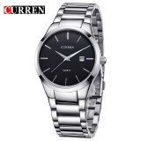 ราคา Curren สแตนเลสสตีลผู้ชาย Watch 8106 Silver Black เป็นต้นฉบับ Curren