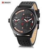 ขาย ซื้อ Curren 8252 Male Dual Quartz Movt Watch Calendar Leather Band 3Atm Men Wristwatch Intl จีน