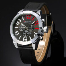 ซื้อ Curren Men Leather Display Date Quartz Wrist Watch Black ใน จีน
