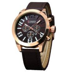 Curren Men Leather Display Date Quartz Wrist Watch Brown ใน จีน