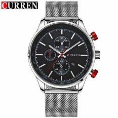 ราคา Curren นาฬิกาบุรุษแบรนด์หรูนาฬิกาควอตซ์สีดำนาฬิกาแฟชั่นผู้ชายสแตนเลสสปอร์ตนาฬิกานาฬิกาข้อมือชาย ใน จีน