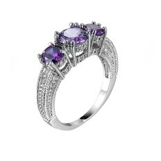 Custom Birthstone Ring Triple Ring Jewelry Dainty Ring Gift Mom Gift Intl ใน สมุทรปราการ