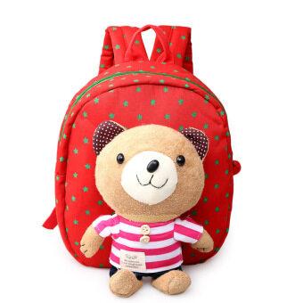 กระเป๋าเป้สะพายหลังเด็กน่ารักกระเป๋ากระเป๋าสะพายผ้าใบลึกสีแดง