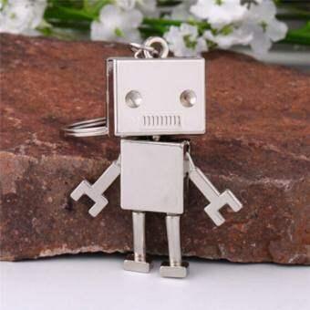 น่ารักเคลื่อนย้ายได้หุ่นยนต์โลหะพวงกุญแจพวงกุญแจแหวนพวงกุญแจกระเป๋าจี้ของขวัญเงิน 11.7 เซนติเมตร * 5 เซนติเมตร * 0.8 เซนติเมตร - นานาชาติ