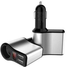 ช่องเสียบที่ชาร์จแบตในรถยนต์ มีจอแสดงวัดโวลต์ Dc 12-24v  และกระแสขณะชาร์จ Usb 2 Port 3.1a และช่องจุดบุหรี่ 1 ช่อง (สีดำ)  Usb Charger Led Display Volt Amp Meter.