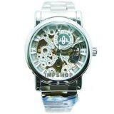 ซื้อ Debor นาฬิกาข้อมือชาย ระบบ Auto หน้าปัดเปลือยลายฉลุสีขาว สายเหล็ก สีขาว ออนไลน์