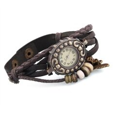 โปรโมชั่น Deep Coffee Leather Braided Oval Dial Quartz Wrist Watch Women Thailand