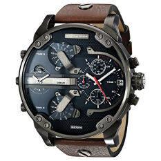 ราคา Diesel Men S Dz7314 The Daddies Series Stainless Steel Watch With Brown Leather Band Intl เป็นต้นฉบับ