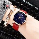 ราคา Dita นาฬิกาข้อมือสุภาพสตรี สายหนังแท้ รุ่น Xc005 สีแดง ใหม่