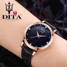 ซื้อ Dita นาฬิกาข้อมือสุภาพสตรี สายหนังแท้ รุ่น Xc007 สีดำ Dita ถูก