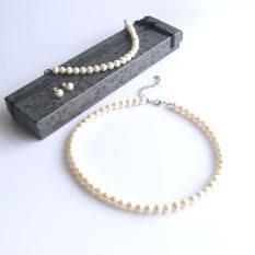 ขาย Diva Designs เซทสร้อยคอมุก กำไล ต่างหู Genuine Freshwater Pearl Necklace Bracelet Pearl Earring Set ไทย