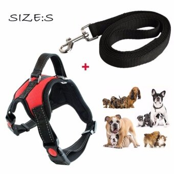Dog Harness with Handle on Top Adjustable No Pull Dog Chest Strap Harness for Small to Large Dog - Best for Training Walking Hiking(Red)SIZE S - intl