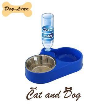 Dog-Link ชุดให้อาหาร-น้ำ สุนัขและแมว S-001ส้ีน้ำเงิน