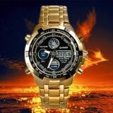 ทบทวน Double Movement Watch Men S Steel Band Led Display Multi Functional Fashion Leisure Watch Intl