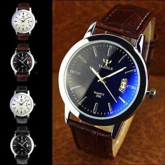 หญิงชายคู่กันน้ำปฏิทิน Easybuy หรูสีน้ำเงินสว่างนาฬิกาควอตซ์สีน้ำตาล