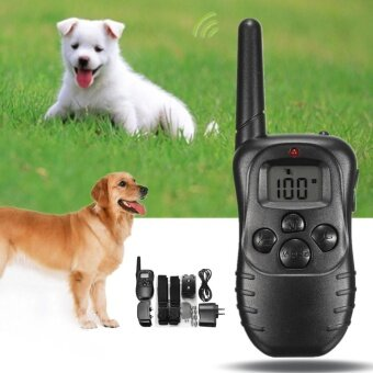 Electric Dog Stop Barking Anti Bark LCD Transmitter 2 Collar Remote Training Kit - intl