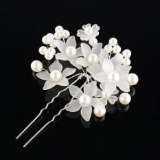 Elegant ผู้หญิงเจ้าสาว Faux ดอกไม้ไข่มุกกิ๊ฟติดผมแถบคาดศีรษะหวี Hairpin.