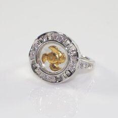 ราคา Elise S แหวนกังหันประดับเพชรล้อมฉลุข้าง ลายขีด ชุบโรเดียม ทองคำขาว เป็นต้นฉบับ Elise S