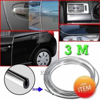Elit ยางอลูมิเนียมตกแต่งขอบภายนอก ภายในรถยนต์ ขนาด 7 มิลลิเมตร ยาว 3 เมตร รุ่น CES343-DS (สีเงิน) Car Edge Strip 7mm.