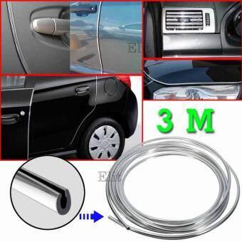 Sinlin ยางอลูมิเนียมตกแต่งขอบภายนอก ภายในรถยนต์ ขนาด 7 มิลลิเมตร ยาว 3 เมตร (สีเงิน) Car Edge Strip 7mm.