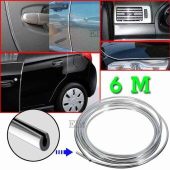 Sinlin ยางอลูมิเนียมตกแต่งขอบภายนอก ภายในรถยนต์ ขนาด 7 มิลลิเมตร ยาว 6 เมตร (สีเงิน) Car Edge Strip 7mm. 6m