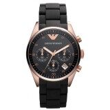 โปรโมชั่น Emporio Armani Classic Collection Women S Quartz Watch With Black Dial Analogue Display And Black Rubber Strap Ar5906