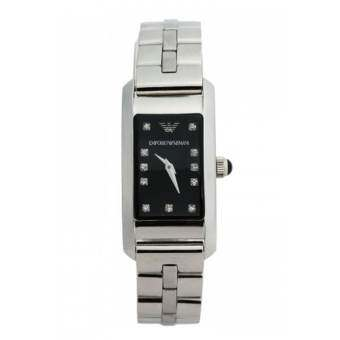 Emporio Armani Ladies AR3166 Watch Stainless Steel Bracelet Black Dial with Stone Setting