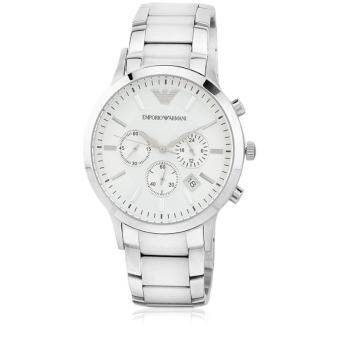 Emporio Armani Men's Quartz Watch AR2458 with Metal Strap - White