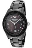 โปรโมชั่น Emporio Armani Women S Ar1423 Black Ceramic Case Bracelet Crystal Bezel Mother Of Pearl Dial Watch Black