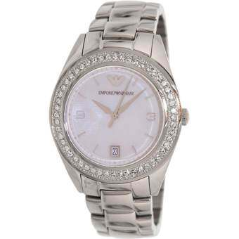 Emporio Armani Women's Classic AR5992 Silver Stainless-Steel Analog Quartz Watch with Mother-Of-Pearl Dial