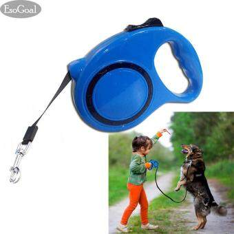 EsoGoal สายจูงสุนัขอย่างดียาว 5 เมตรสีฟ้ายืดหดได้สายจูงสุนัขแบบพับเก็บได้สายจูง