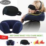 ทบทวน Esogoal หมอนรองคอท่องเที่ยวหน่วยความจำโฟมหมอน เครื่องบินหมอนรถยนต์รถบัสรถไฟ Nap Washable Durable พร้อมชุดฝาครอบถอดเปลี่ยนได้ 3D Sleep Mask
