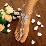 Etop Women Butterfly With Toe Ring Foot Chain Rhinestone Barefoot Wedding Bride Anklets Multicolor Intl ถูก