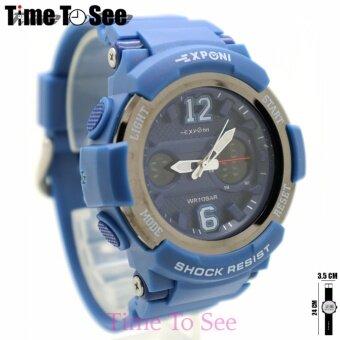 นาฬิกา Exponi (2Time) นาฬิกาข้อมือผู้ชาย-ผู้หญิงและเด็ก สายยาง ระบบ Digital/LED