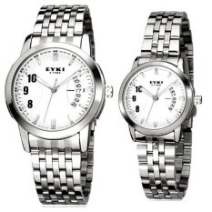 ส่วนลด สินค้า Eyki นาฬิกาข้อมือคู่รัก สายสแตนเลส รุ่น E 8408 White Silver