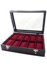 ขาย Fancybox ตู้นาฬิกาไม้บุผ้ากำมะหยี่ ฝากระจกนาฬิกา 10 เรือน สีดำ ราคาถูกที่สุด