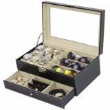 ส่วนลด Fancybox กล่องนาฬิกาไม้บุหนัง 2 ชั้น สำหรับนาฬิกา 6 เรือน ใส่แว่น 3 อัน ใส่เครื่องประดับ Black Fancybox