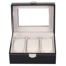 ซื้อ Fancybox ตู้นาฬิกาไม้บุหนัง สำหรับนาฬิกา 3 เรือน Black Fancybox ถูก