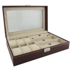 ราคา Fancybox ตู้นาฬิกาไม้บุหนัง ฝากระจก สีน้ำตาลแดง ใส่นาฬิกา 6 เรือน กล่องใส่แว่นตา Fancybox เป็นต้นฉบับ