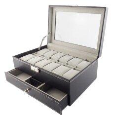 ขาย ซื้อ ออนไลน์ Fancybox กล่องนาฬิกาไม้บุหนัง 2 ชั้น สำหรับนาฬิกา 12 เรือน ใส่เครื่องประดับ Black