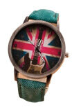 ราคา Fancyqube British Flag Leather Restoring Ancient Ways Watch Green ฮ่องกง
