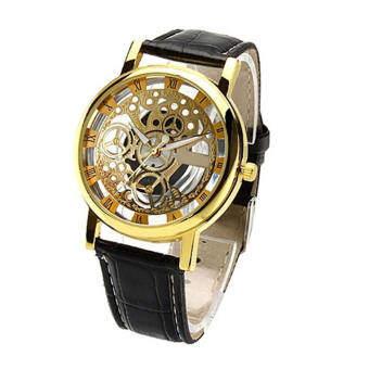นาฬิกาตัวเลขโรมัน Fancyqube เรโทรรัดสองโต๊ะนาฬิกาทอง/สีดำ-