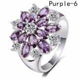 ความคิดเห็น Fancyqube Shining รอบวงแหวนดอกไม้สำหรับผู้หญิงแฟชั่นแหวนเงินเดซี่สีชมพูสีม่วง 6