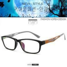 Fashion เกาหลี แฟชั่น แว่นตากรองแสงสีฟ้า รุ่น 2354 C-7 สีดำตัดส้ม ถนอมสายตา (กรองแสงคอม กรองแสงมือถือ) New Optical Filter By Big See.